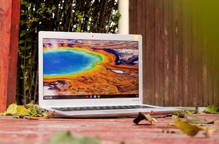 Laptop with geyser on screen